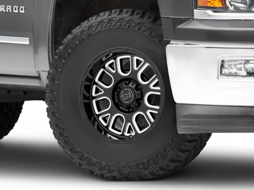 Black Rhino Pismo Gloss Black Milled 6-Lug Wheel - 17x9.5; 6mm Offset (14-18 Silverado 1500)