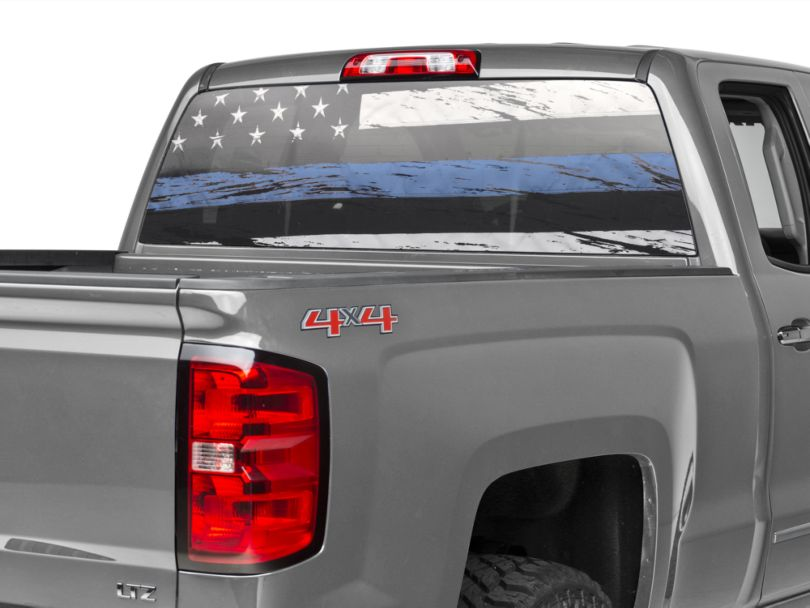 Perforated Real Flag Rear Window Decal w/ Blue Line (99-20 Silverado 1500)