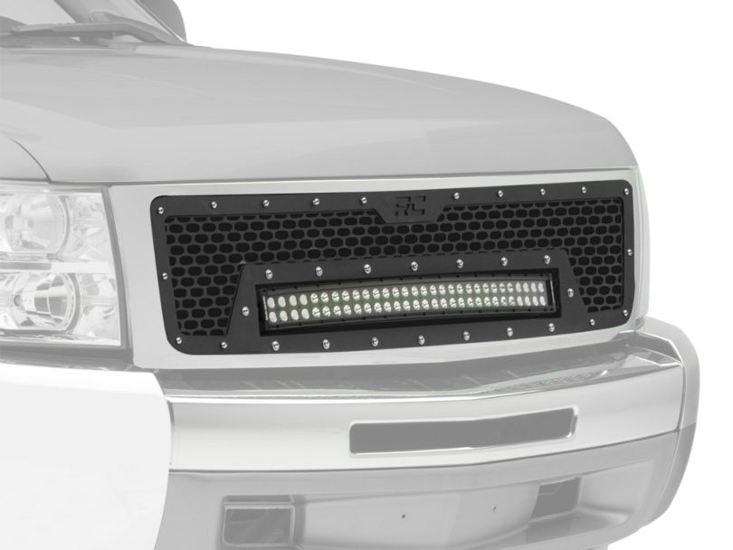 Rough Country Mesh Upper Grille Insert w/ 30 in. Black Series LED Light Bar - Black (07-13 Silverado 1500)