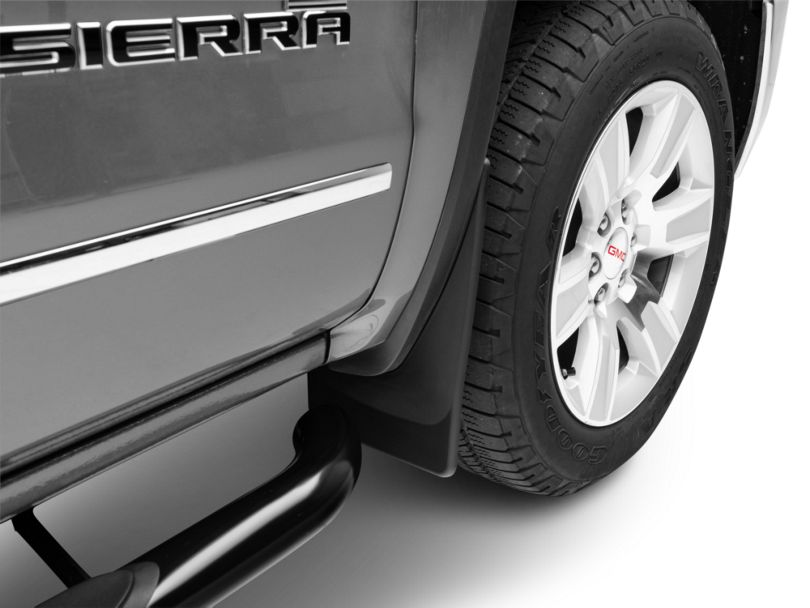 Weathertech No Drill Front & Rear Mud Flaps - Black (14-18 Sierra 1500 w/o Fender Flares)