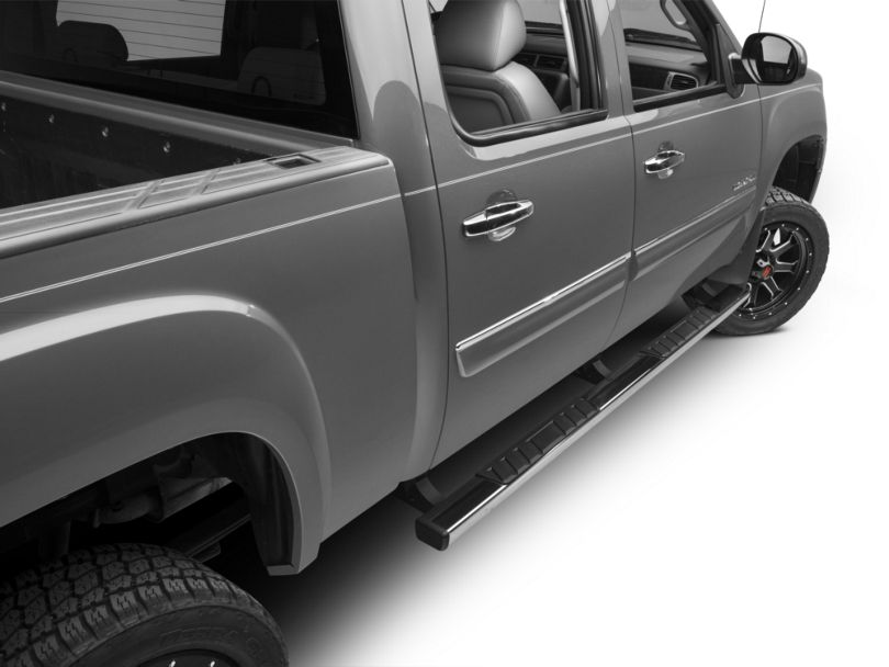 Barricade T4 Body Mount Side Step Bars - Stainless Steel (07-13 Sierra 1500 Extended Cab, Crew Cab)