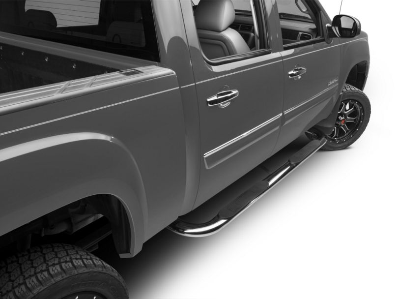 Barricade 4 in. Oval Bent End Body Mount Side Step Bars - Stainless Steel (07-13 Sierra 1500)