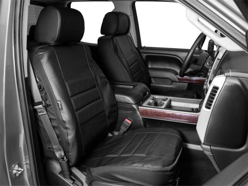 Custom Fit Leatherlite Front Seat Covers; Black (14-18 Sierra 1500 w/ Bucket Seats)