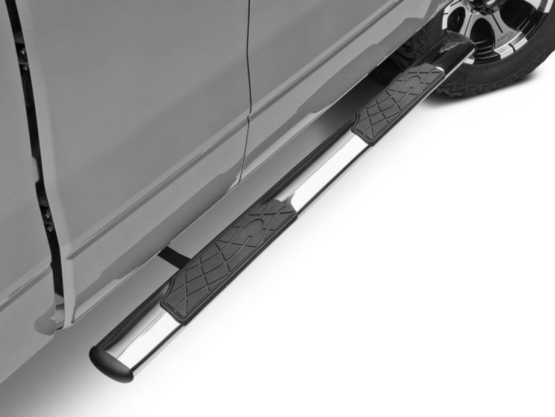 Barricade 4.5 in. Oval Straight End Side Step Bars - Stainless Steel (09-14 F-150)