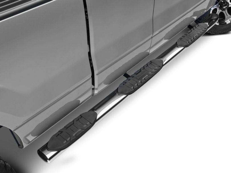 Barricade 5 in. Oval Bent End Wheel to Wheel Side Step Bars - Stainless Steel (09-14 F-150 SuperCab w/ 6.5 ft. Bed, SuperCrew w/ 5.5 ft. Bed)