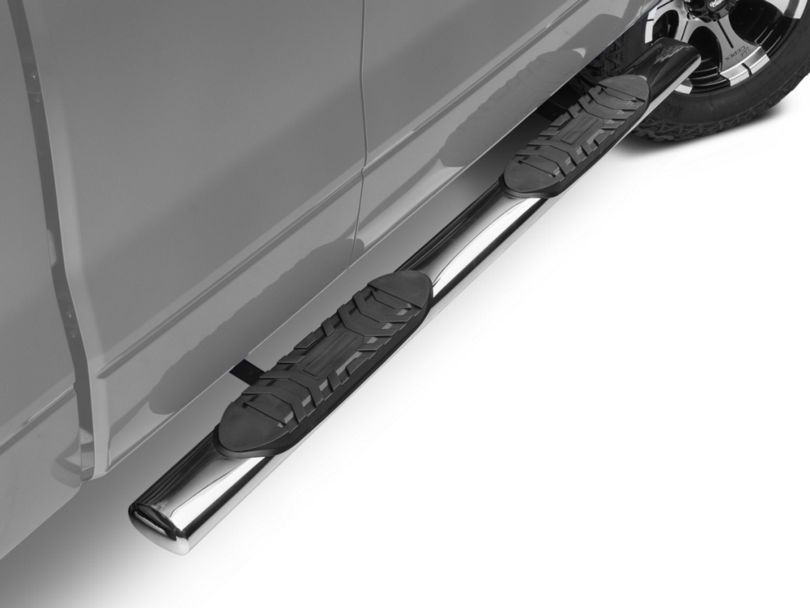Barricade 5 in. Oval Straight End Side Step Bars - Stainless Steel (09-14 F-150)