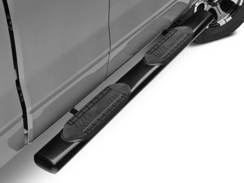 Barricade 6-Inch Oval Straight End Side Step Bars; Gloss Black (09-14 F-150 SuperCab, SuperCrew)