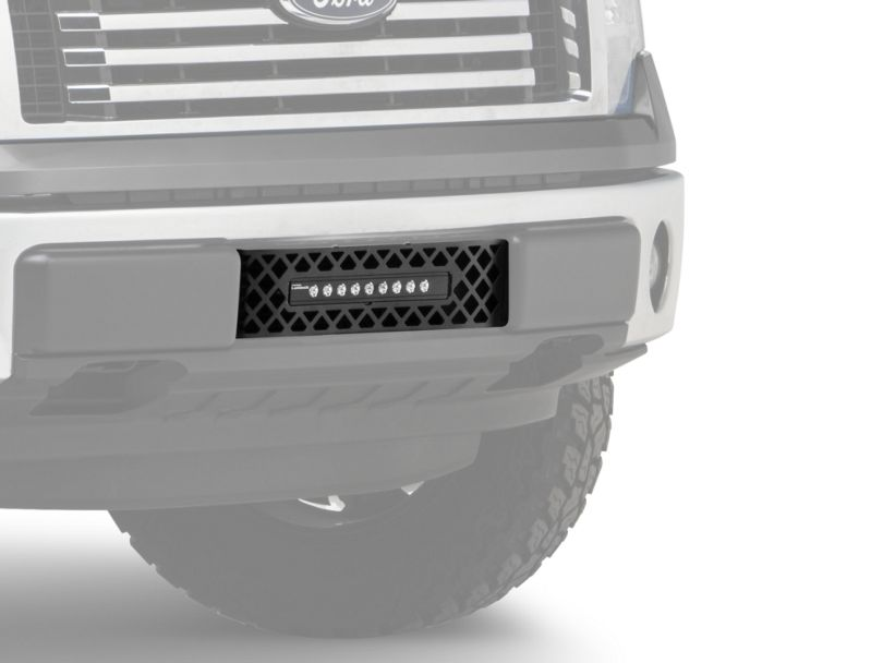 Diamond Lower Bumper Grille Insert w/ 10 in. Luminix Light Bar - Black (09-14 F-150, Excluding Raptor, Harley Davidson & 2011 Limited)