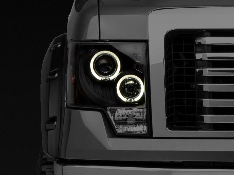 Dual LED Halo Projector Headlights; Black (09-14 F-150 w/o Factory HID Headlights)