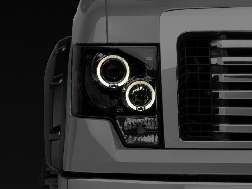 Dual LED Halo Projector Headlights; Smoked (09-14 F-150 w/o Factory HID Headlights)