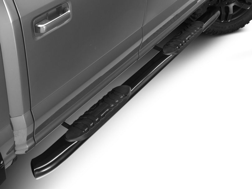 Barricade 5 in. Oval 60 Degree Bent End Side Step Bars - Black (15-19 F-150)