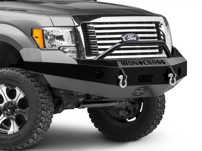 Iron Cross Heavy Duty Push Bar Front Bumper; Gloss Black (09-14 F-150, Excluding Raptor)