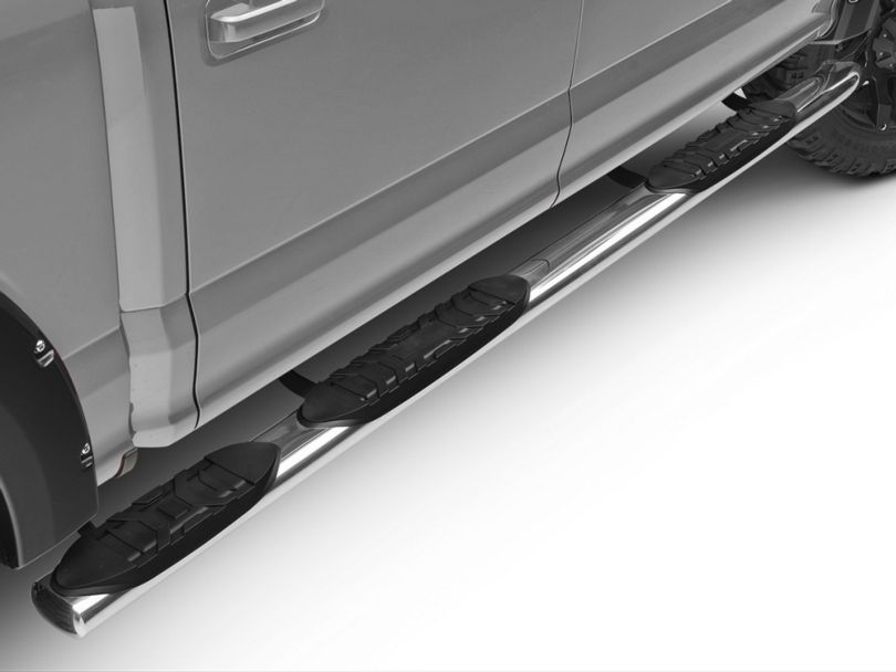 Barricade 5-Inch Oval Bent End Wheel to Wheel Side Step Bars; Stainless Steel (15-20 F-150 SuperCab w/ 6.5 ft. Bed, SuperCrew w/ 5.5 ft. Bed)