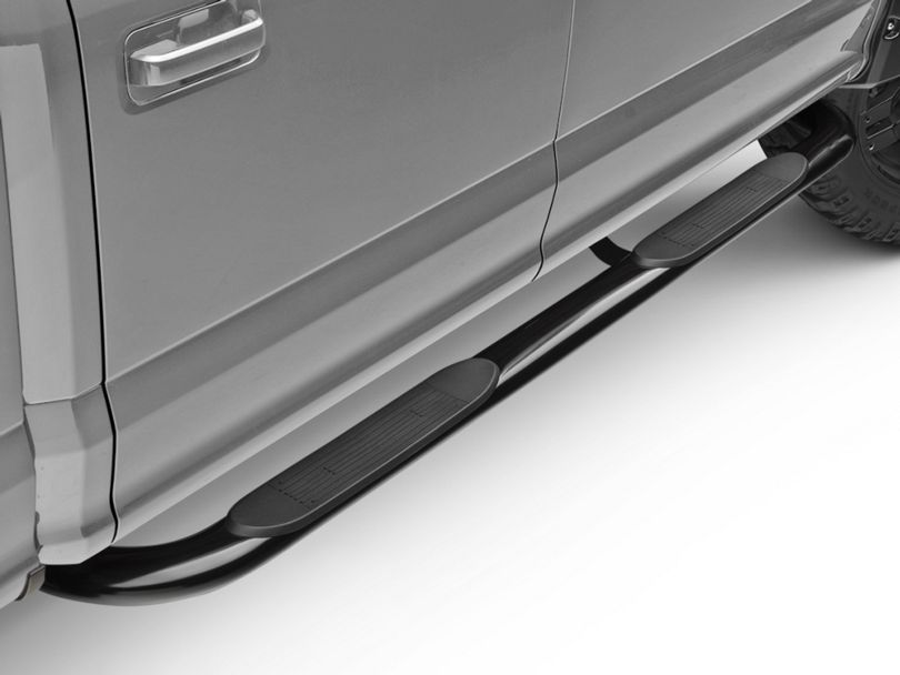 Barricade 4 in. Oval 90 Degree Bent End Side Step Bars - Black (15-20 F-150)