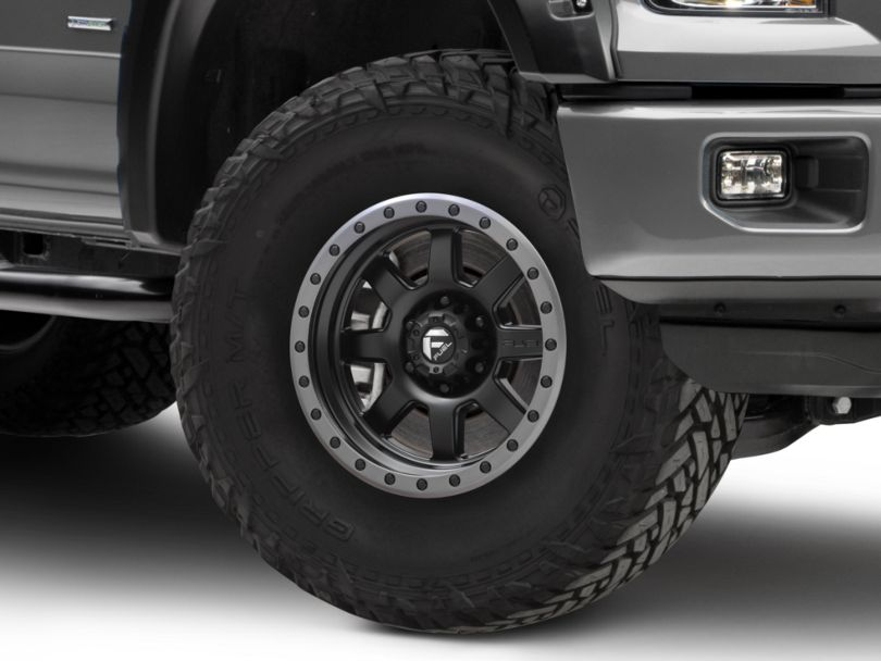 Fuel Wheels Trophy Matte Black with Anthracite Ring 6-Lug Wheel; 17x8.5; 6mm Offset (15-20 F-150)