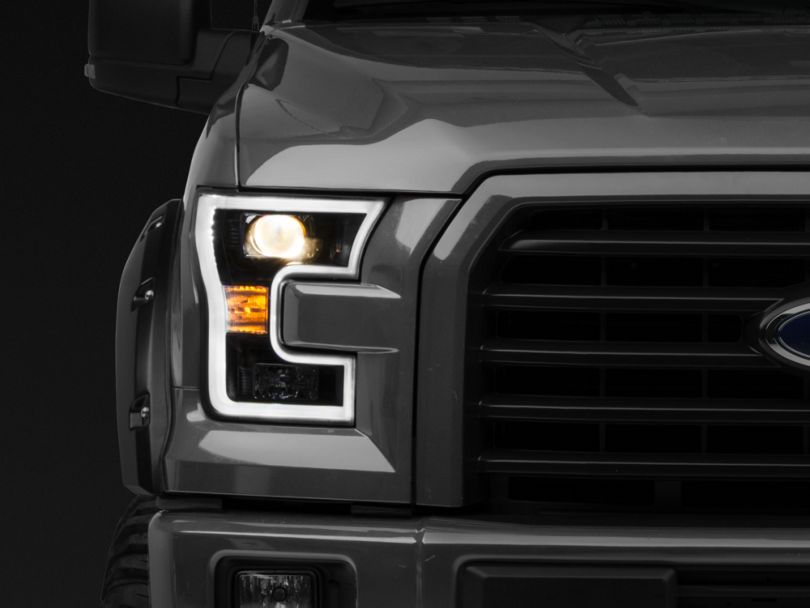 Axial Projector Headlights with LED DRL; Black (15-17 F-150 w/ Halogen Headlights)