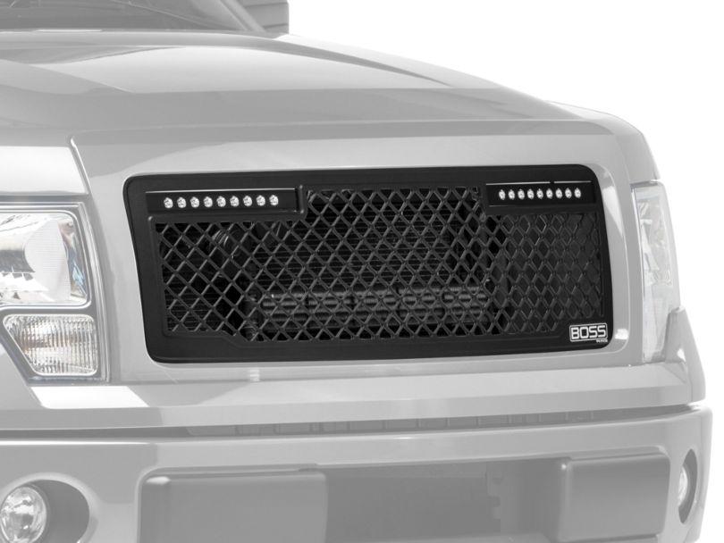 Putco Boss Series Upper Grille Insert w/ 10 in. Luminix Light Bar - Black (13-14 F-150, Excluding Raptor)