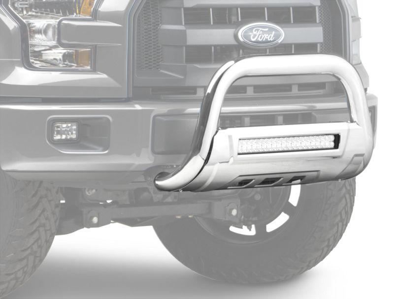 Barricade HD Bull Bar w/ Skid Plate & 20 in. LED Dual-Row LED Light Bar - Polished SS (04-19 F-150, Excluding Raptor)