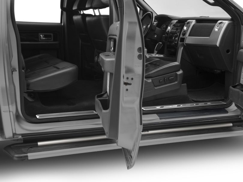 Defenderworx Door Sill Plates with F-150 Logo; Brushed (09-14 F-150 SuperCrew)