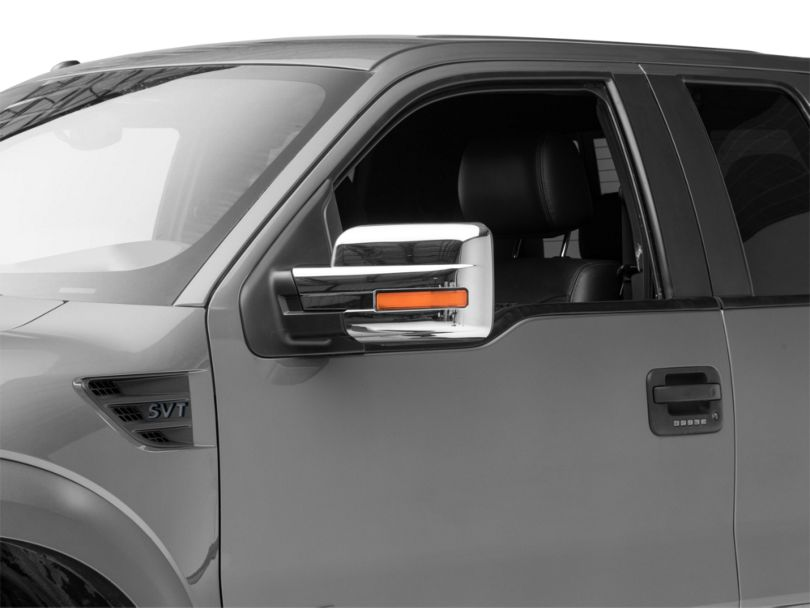 SpeedForm Mirror Covers with Turn Signal Light Cutout; Chrome (09-14 F-150)