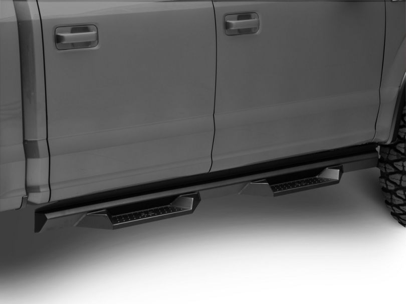 Rough Country Cab Length DS2 Drop Side Step Bars; Black (15-20 F-150 SuperCrew)