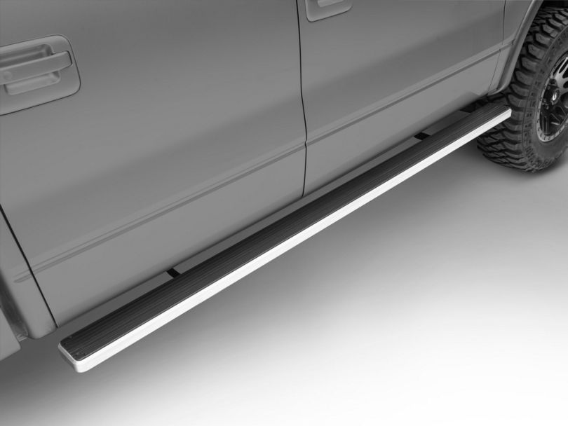 5-Inch iStep Running Boards; Hairline Silver (09-14 F-150 SuperCrew)