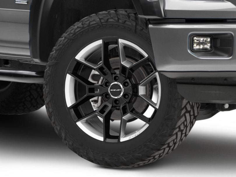 Shelby CS45 Gloss Black with Hyper Silver Inserts 6-Lug Wheel; 22x9.5; 12mm Offset (15-20 F-150)