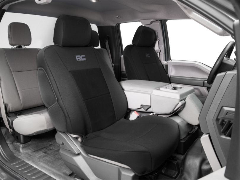 Rough Country Neoprene Front Seat Covers; Black (15-20 F-150)