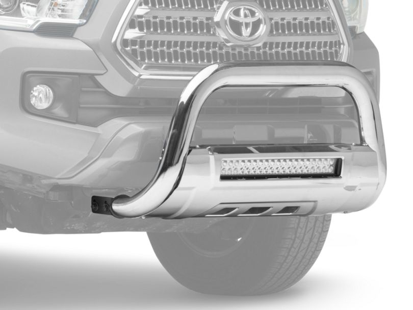 Barricade 3.5 in. Bull Bar w/ Skid Plate & 20 in. Dual Row LED Light Bar - Stainless Steel (16-20 Tacoma)