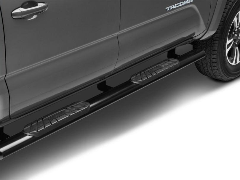 RedRock 4x4 4-Inch Oval Straight End Side Step Bars; Black (05-20 Tacoma Double Cab)