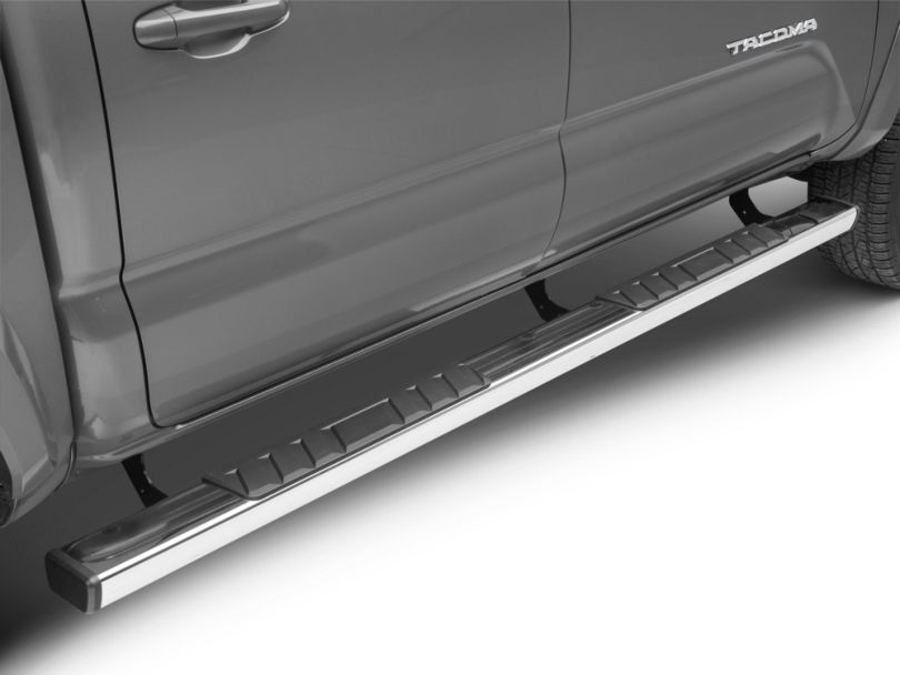 RedRock 4x4 Steel Side Step Bars - Stainless Steel (05-20 Tacoma Double Cab)
