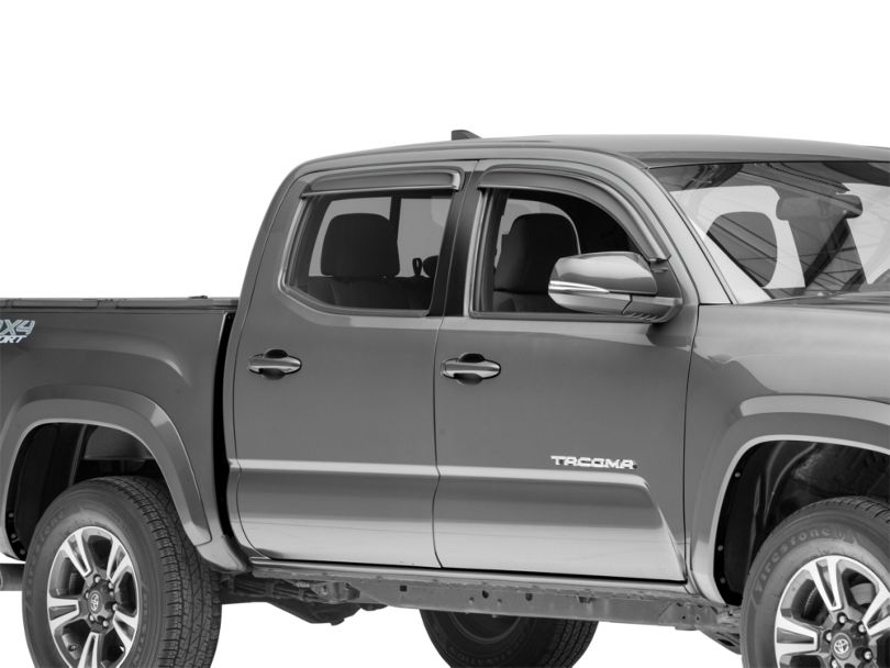 Smoke Rain Guards - Front & Rear (16-20 Tacoma Double Cab)