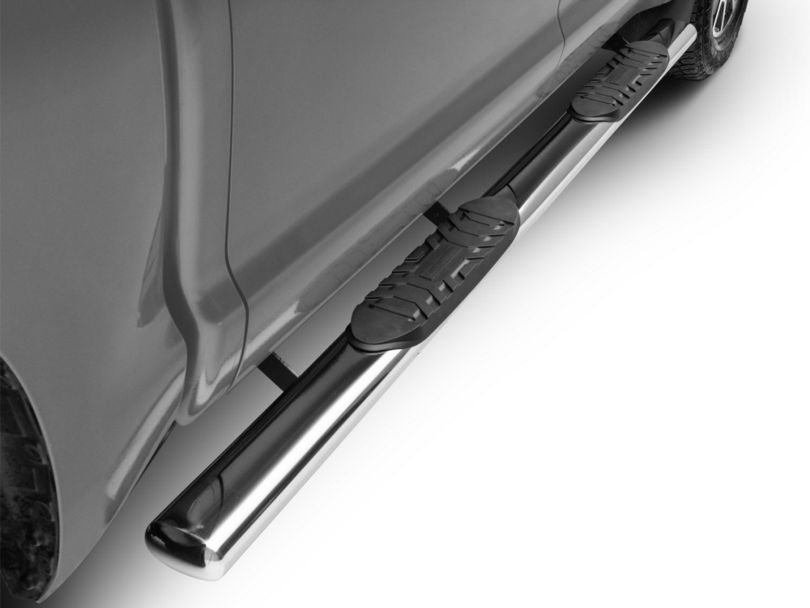 RedRock 4x4 5-Inch Oval Straight End Side Step Bars; Stainless Steel (07-20 Tundra CrewMax)
