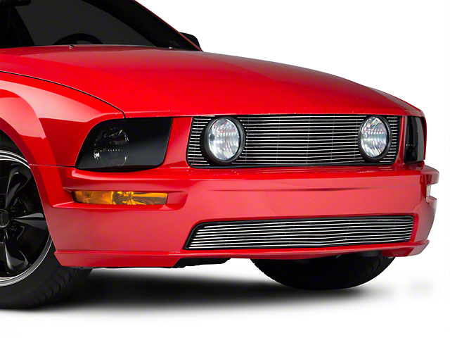 Modern Billet Pony Delete Grille; Polished (05-09 GT)