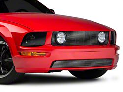 Modern Billet Pony Delete Upper and Lower Grille; Polished (05-09 GT)
