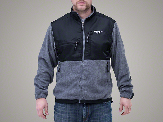 mustang ford mustang microfleece jacket gray free shipping. Black Bedroom Furniture Sets. Home Design Ideas