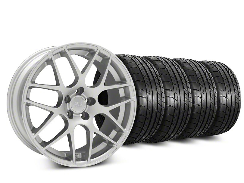 AMR Silver Wheel and Mickey Thompson Tire Kit; 18x9 (05-14 All, Excluding 13-14 GT500)