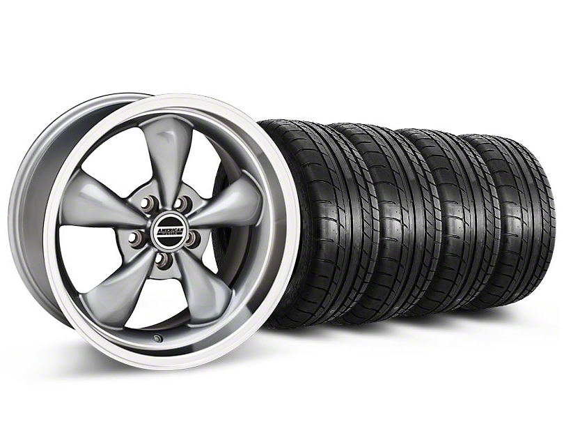 Bullitt Anthracite Wheel and Mickey Thompson Tire Kit; 17x9 (87-93 w/ 5 Lug Conversion)