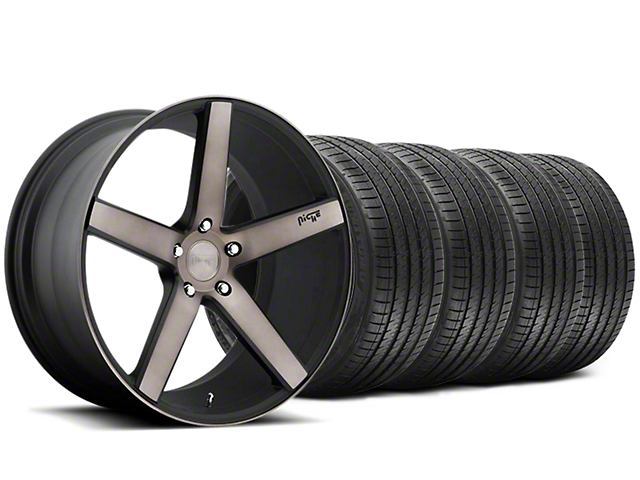 Niche Milan Matte Black Machined Wheel and Sumitomo Maximum Performance HTR Z5 Tire Kit; 20x8.5 (05-14 All)