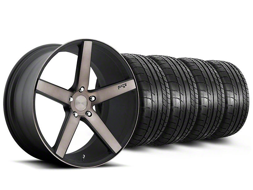 Niche Milan Matte Black Machined Wheel and Mickey Thompson Tire Kit; 20x8.5 (05-14 All)