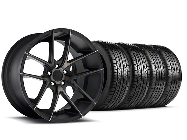 Niche Targa Black Wheel and Pirelli Tire Kit; 19x8.5 (05-14 All)