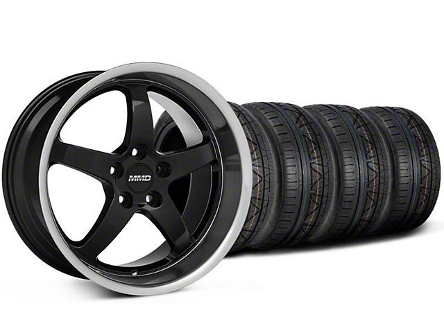MMD Kage Black Wheel and NITTO INVO Tire Kit; 19x8.5 (05-14 GT, V6)