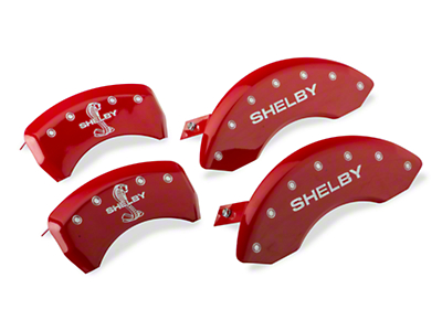 MGP Red Caliper Covers w/ Shelby Snake Logo - Front & Rear (10-14 Standard GT, V6)