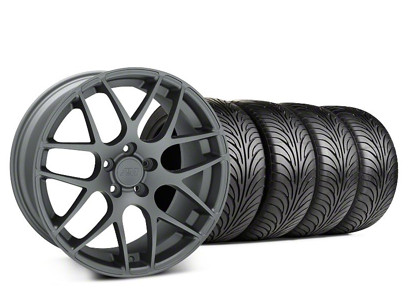 Staggered AMR Charcoal Wheel & Sumitomo Tire Kit - 18x9/10 (99-04 All)