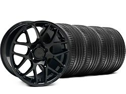 Staggered AMR Black Wheel and Sumitomo Maximum Performance HTR Z5 Tire Kit; 18x9/10 (99-04 All)