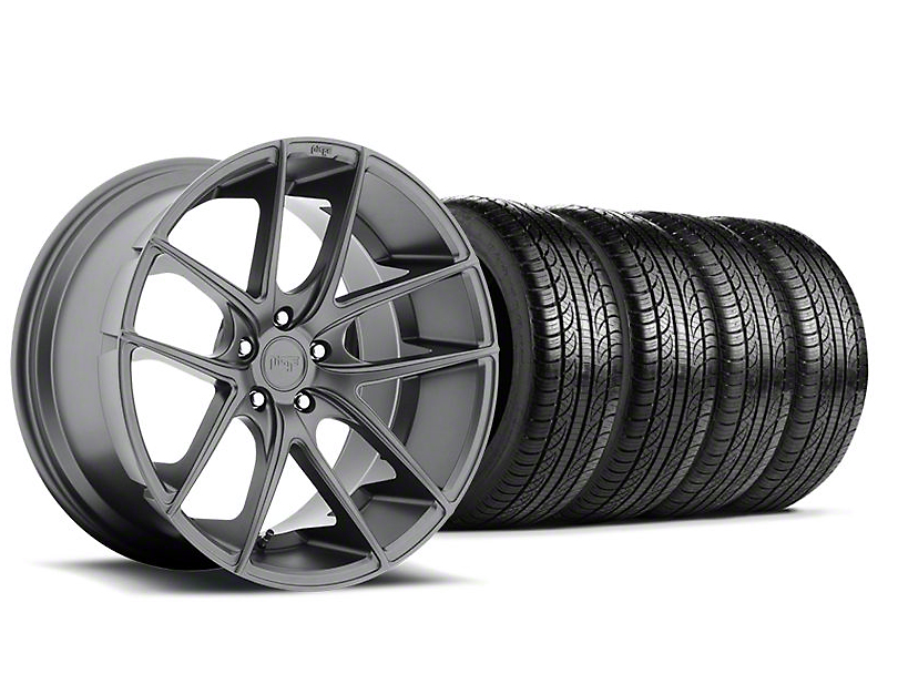 Staggered Niche Targa Anthracite Wheel and Pirelli Tire Kit; 19x8.5/9.5 (05-14 All)