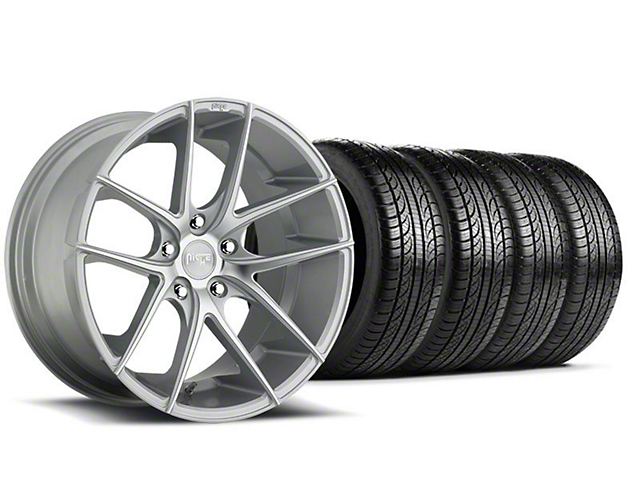 Staggered Niche Targa Matte Silver Wheel and Pirelli Tire Kit; 19x8.5/9.5 (05-14 All)
