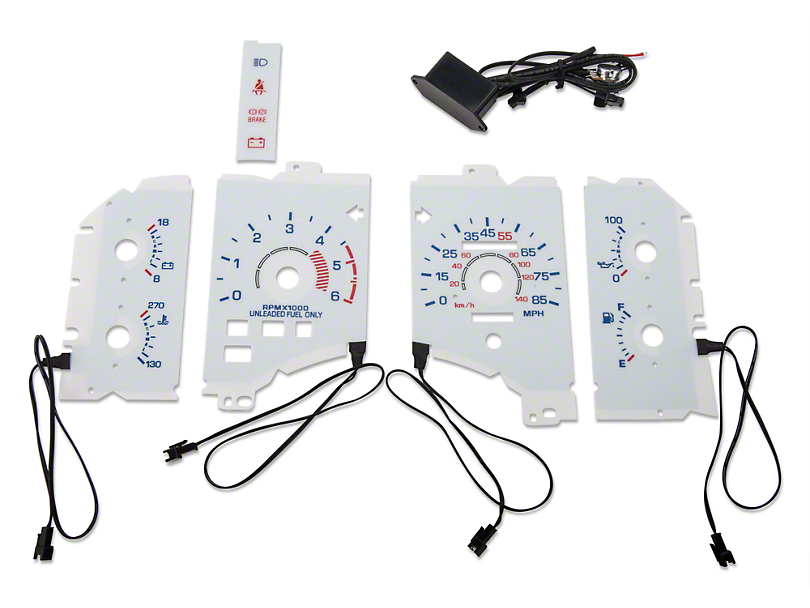 White Face Reverse Glow Gauge Insert - 85mph (90-93 4-Cylinder)