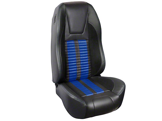 TMI Premium Sport R500 Upholstery & Foam Kit - Black Vinyl & Blue Stripe/Stitch (87-93 All)