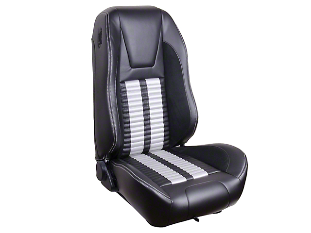 Premium Sport R500 Upholstery and Foam Kit; Black Vinyl and White Stripe/Stitch (99-04 Convertible)